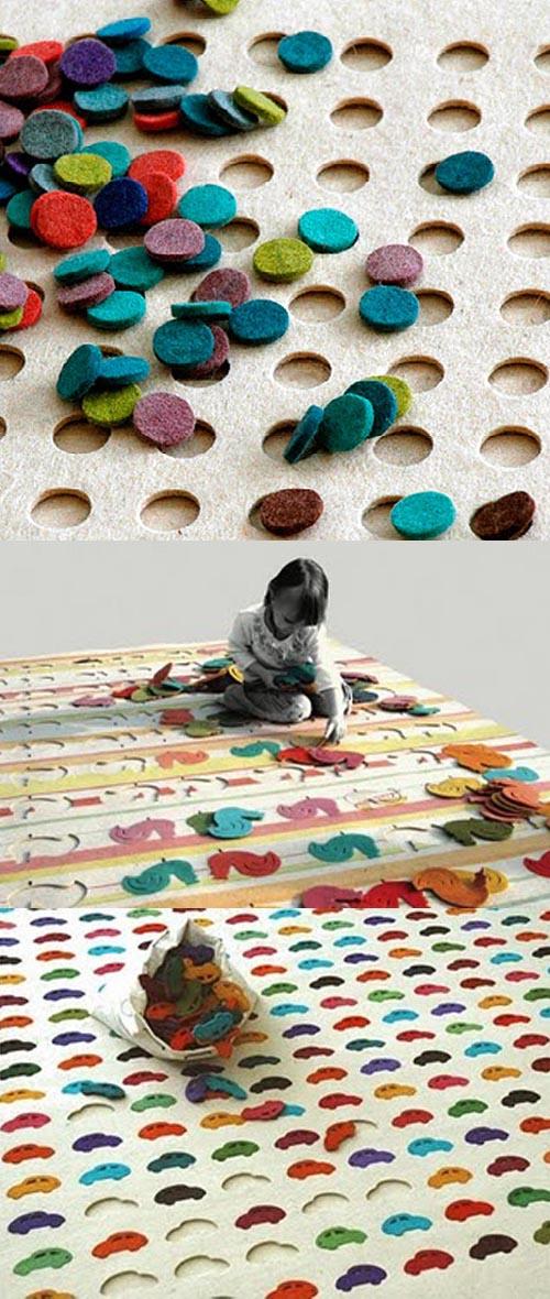 alfombras puzzle lana colores coches gallos lunares