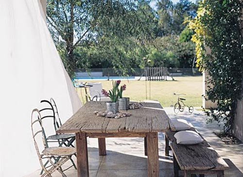 mesa madera tablones porche
