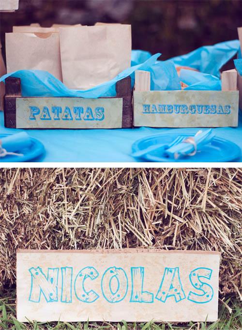 cumpleaños fiesta hamburguesas patatas perritos cumpleaños vaquero pacas paja