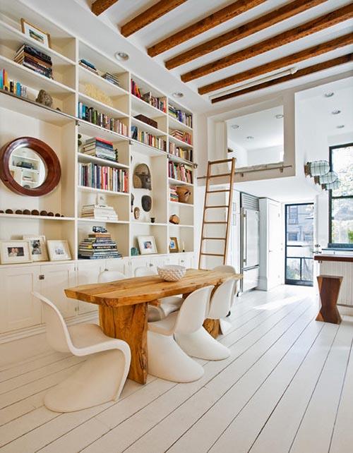 sillas panton madera mesa luz