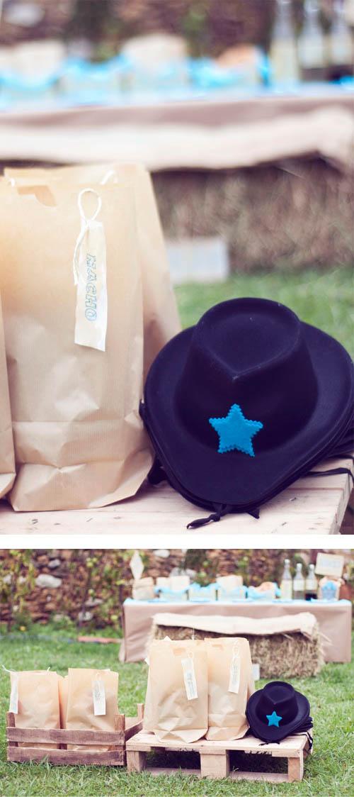 guirlanlda mesa cumpleaños azul turquesa regalos para cumpleaños gorros cowboy