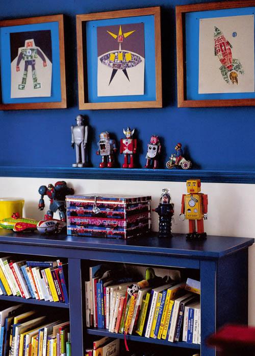 robots habitacion infantil libreria azul cohetes
