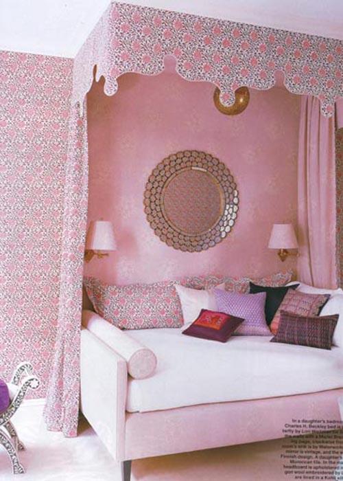 habitacion niña rosa telas coordinadas pantallas lampara moqueta rosa